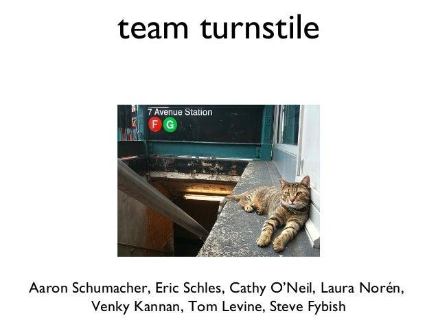 team turnstileAaron Schumacher, Eric Schles, Cathy O'Neil, Laura Norén,         Venky Kannan, Tom Levine, Steve Fybish