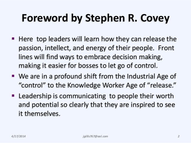 Foreword by Stephen R. Covey  Here top leaders will learn how they can release the passion, intellect, and energy of thei...