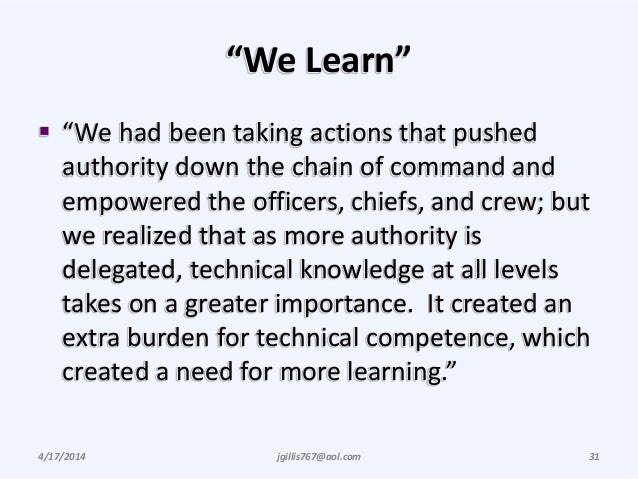 """""""We Learn""""  """"We had been taking actions that pushed authority down the chain of command and empowered the officers, chief..."""