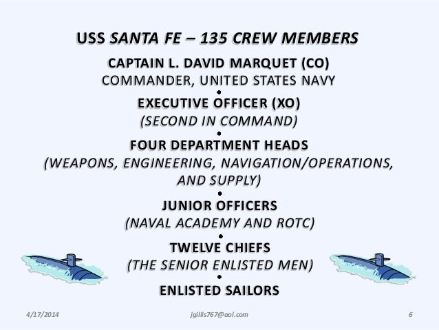 4/17/2014 jgillis767@aol.com 6 USS SANTA FE – 135 CREW MEMBERS CAPTAIN L. DAVID MARQUET (CO) COMMANDER, UNITED STATES NAVY...
