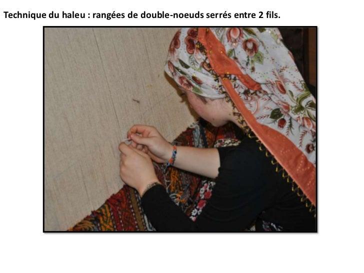 Technique du haleu : rangées de double-noeuds serrés entre 2 fils.<br />