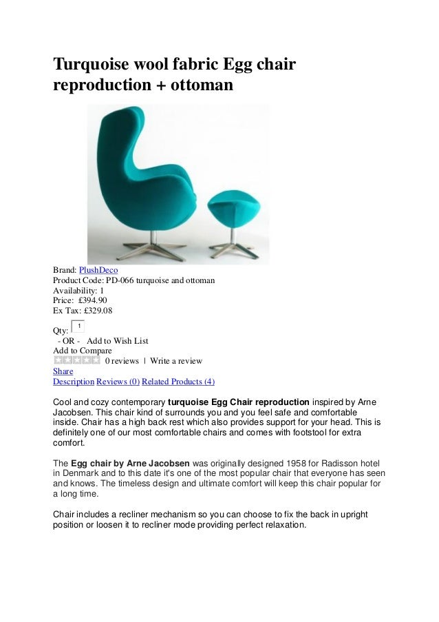 Turquoise Wool Fabric Egg Chair Reproduction + Ottoman Brand: PlushDeco  Product Code: PD  ...