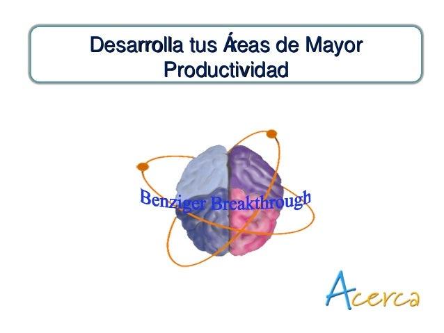 Desarrolla tus Áreas de MayorDesarrolla tus Áreas de Mayor ProductividadProductividad