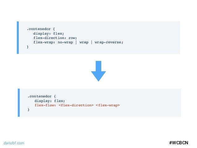 dariobf.com #WCBCN .contenedor { display: flex; flex-direction: row; flex-wrap: no-wrap | wrap | wrap-reverse; } #WCBCN .c...