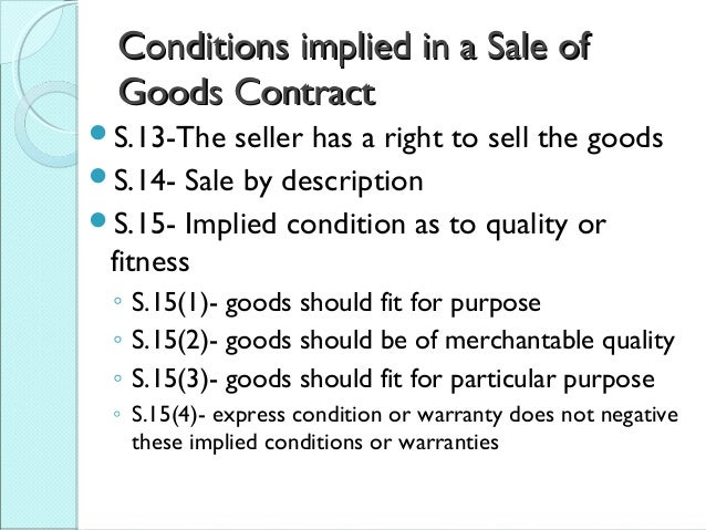 sale of goods ordinance implied terms