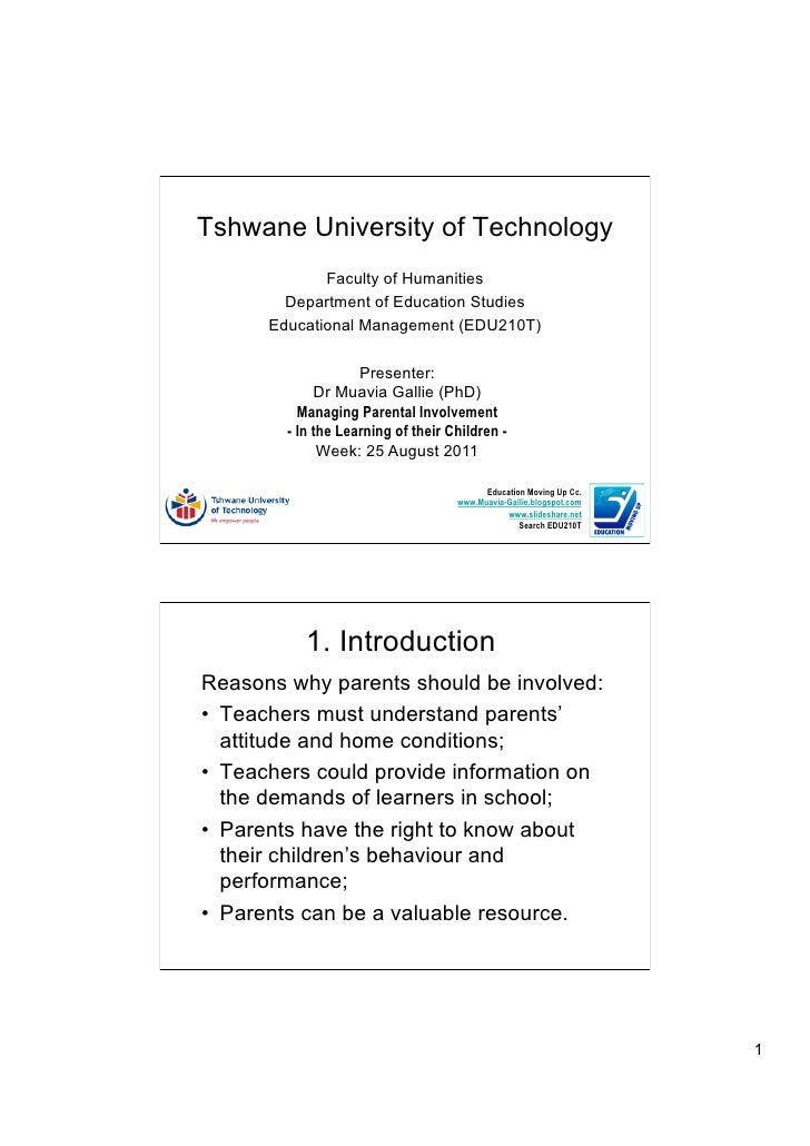 Tshwane University of Technology             Faculty of Humanities        Department of Education Studies      Educational...