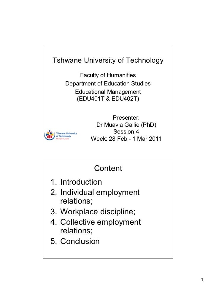 Tshwane University of Technology       Faculty of Humanities   Department of Education Studies      Educational Management...