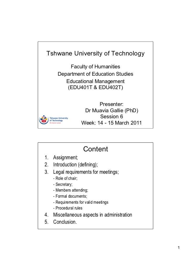 Tshwane University of Technology          Faculty of Humanities      Department of Education Studies         Educational M...