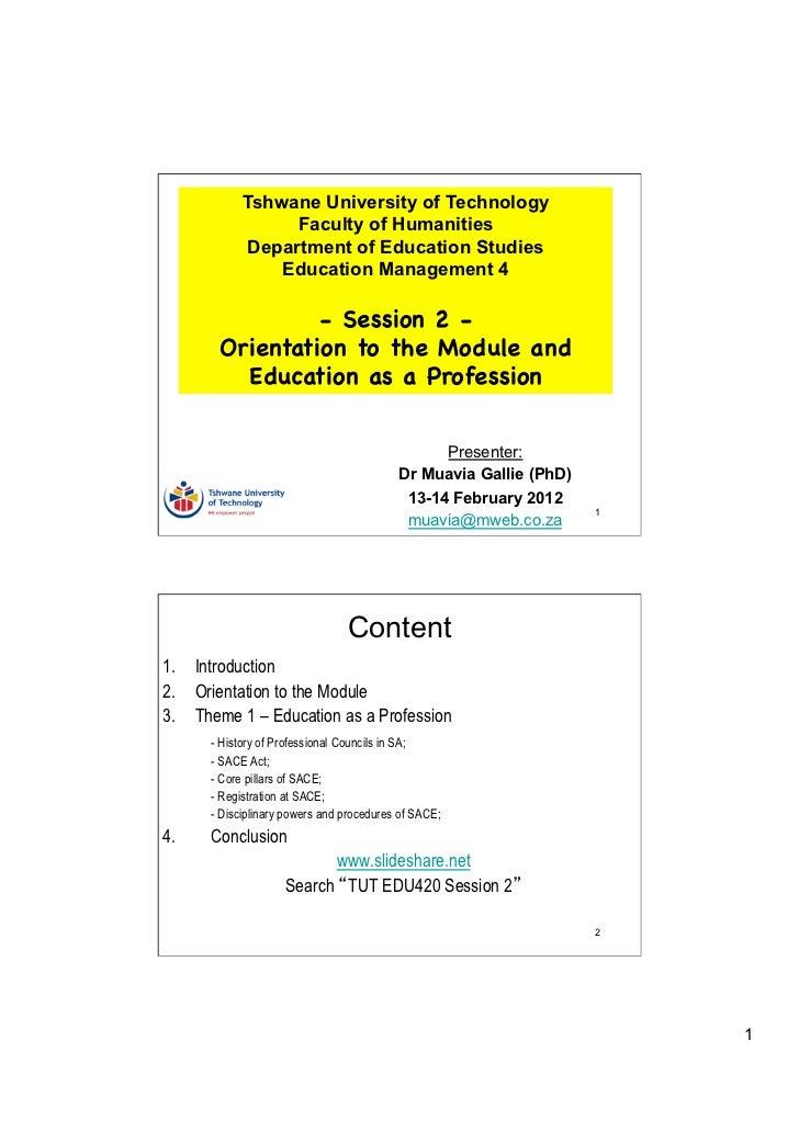 Tshwane University of Technology                  Faculty of Humanities             Department of Education Studies       ...