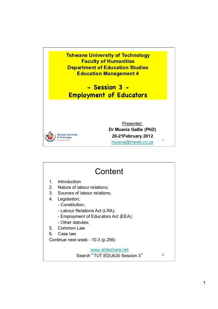 Tshwane University of Technology              Faculty of Humanities         Department of Education Studies            Edu...