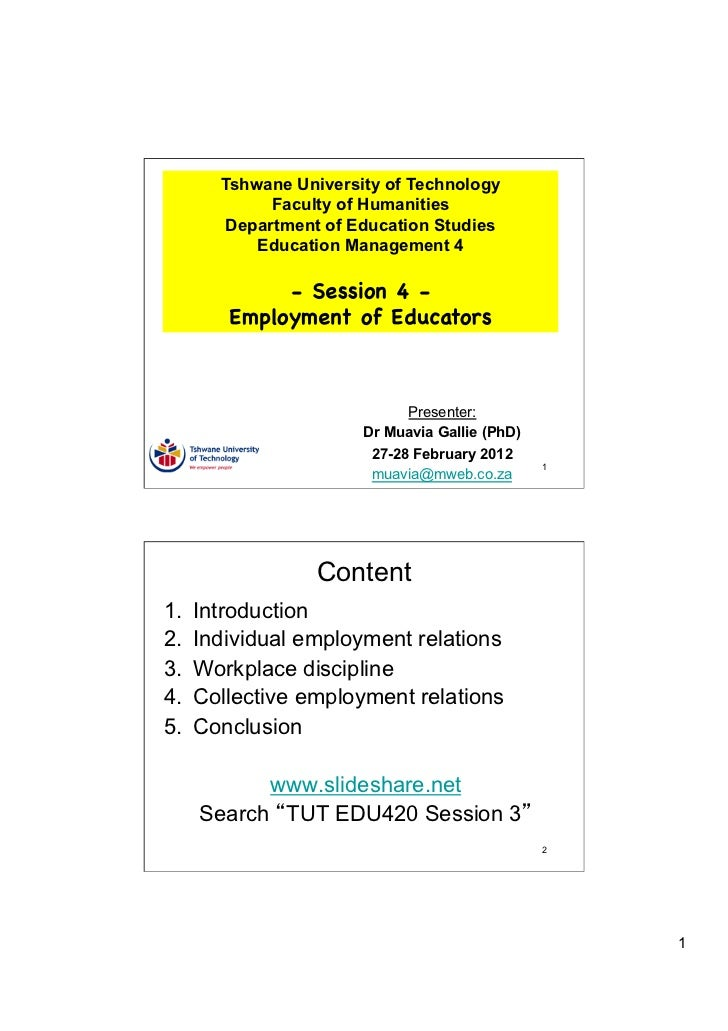 Tshwane University of Technology              Faculty of Humanities         Department of Education Studies            Edu...