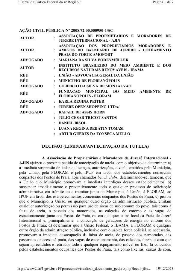 :: Portal da Justiça Federal da 4ª Região ::  Página 1 de 7  AÇÃO CIVIL PÚBLICA Nº 2008.72.00.000950-1/SC AUTOR  :  AUTOR ...