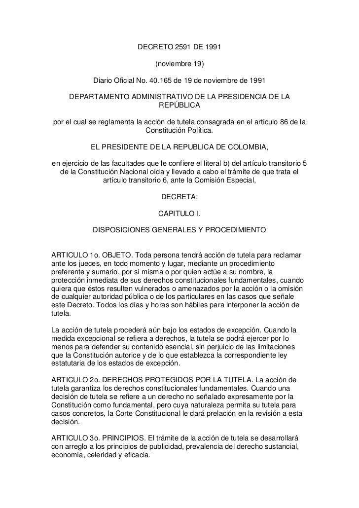DECRETO 2591 DE 1991                                   (noviembre 19)              Diario Oficial No. 40.165 de 19 de novi...