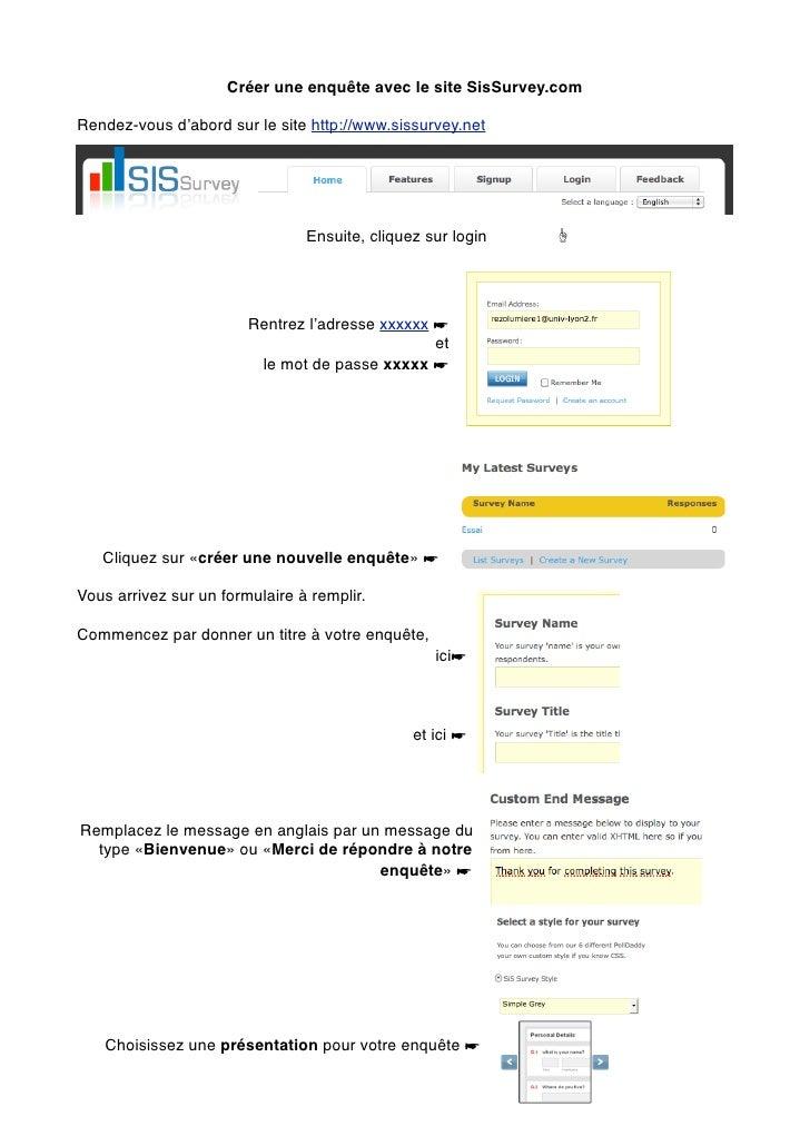 Créer une enquête avec le site SisSurvey.comRendez-vous d'abord sur le site http://www.sissurvey.net                      ...