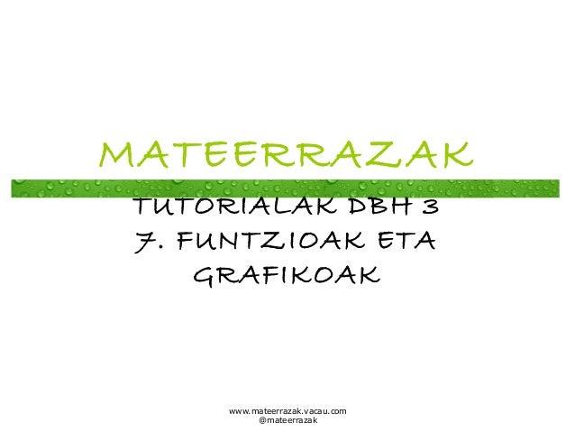 MATEERRAZAK TUTORIALAK DBH 3 7. FUNTZIOAK ETA GRAFIKOAK  www.mateerrazak.vacau.com @mateerrazak