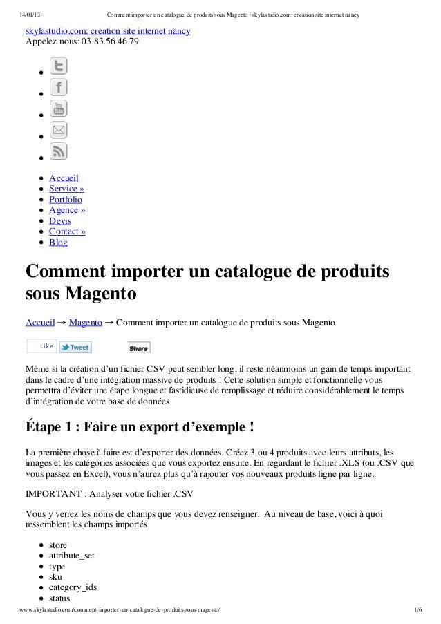 14/01/13                        Comment importer un catalogue de produits sous Magento | skylastudio.com: creation site in...