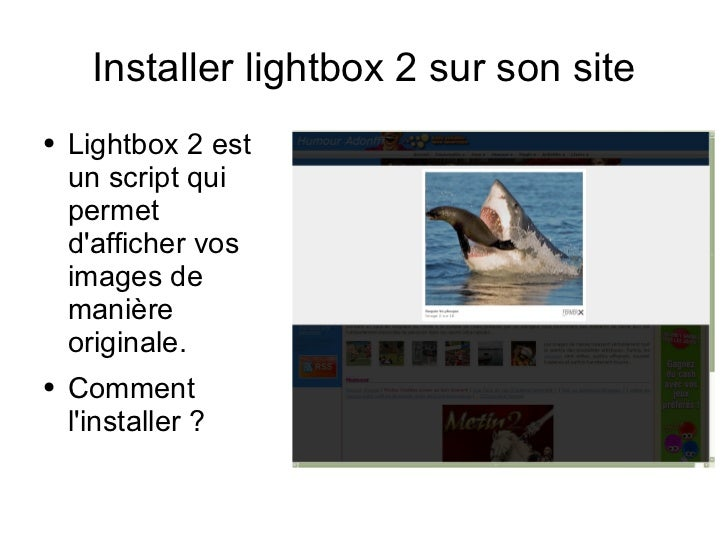 Installer lightbox 2 sur son site <ul><li>Lightbox 2 est un script qui permet d'afficher vos images de manière originale. ...