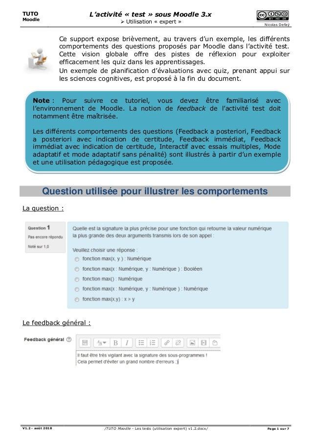 TUTO Moodle L'activité « test » sous Moodle 3.x  Utilisation « expert » Nicolas Defaÿ V1.2 - août 2018 /TUTO Moodle - Les...