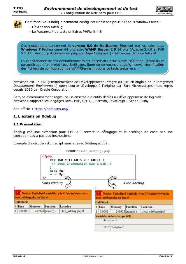 TUTO NetBeans Environnement de développement et de test  Configuration de NetBeans pour PHP Nicolas Defaÿ N.D oct.-16 /TU...