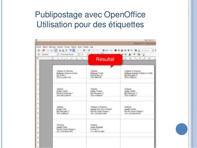 Publipostage Avec OpenOffice Utilisation Pour Des Tiquettes 20