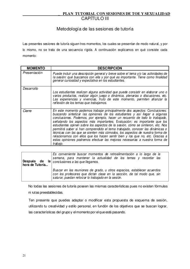 _ PLAN TUTORIAL CON SESIONES DE TOE Y SEXUALIDAD                                            CAPÍTULO III                  ...