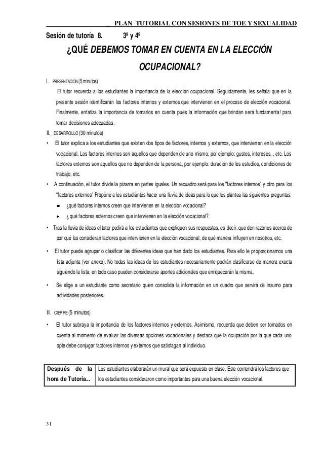 _ PLAN TUTORIAL CON SESIONES DE TOE Y SEXUALIDADSesión de tutoría 8.                      3º y 4º           ¿QUÉ DEBEMOS T...