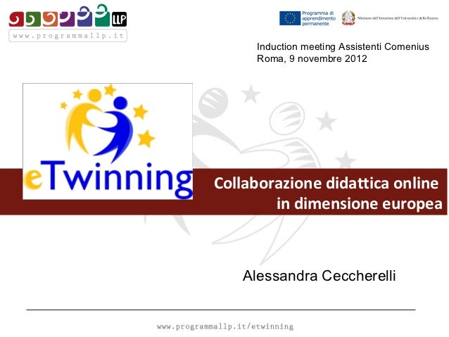 Induction meeting Assistenti Comenius     Roma, 9 novembre 2012Collaborazione didattica online        in dimensione europe...