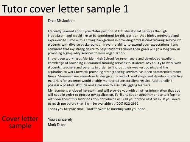 Sample Application Letter For Tutoring Job