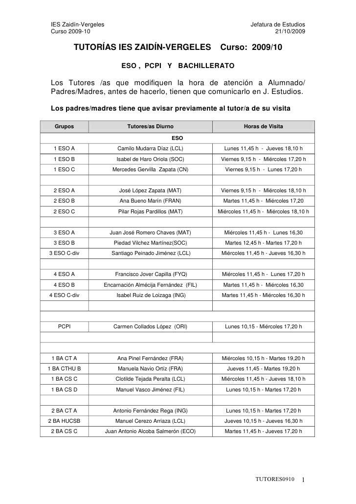 IES Zaidín-Vergeles                                                     Jefatura de Estudios  Curso 2009-10               ...