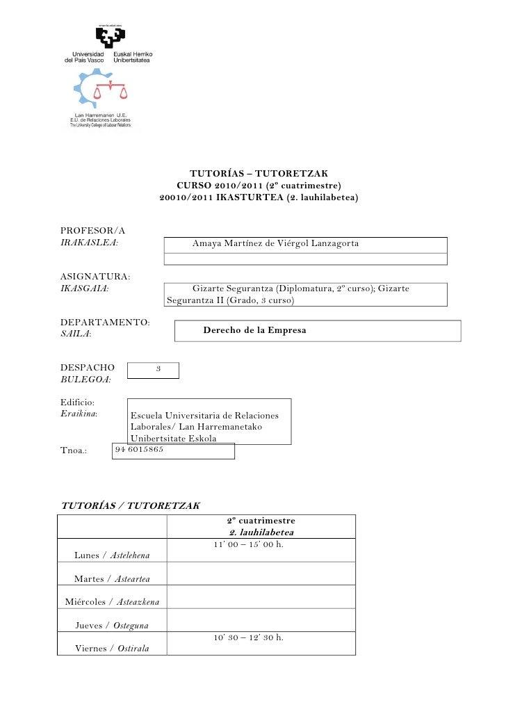 TUTORÍAS – TUTORETZAK                             CURSO 2010/2011 (2º cuatrimestre)                          20010/2011 IK...