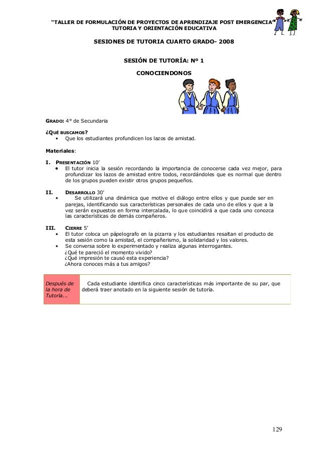 """""""TALLER DE FORMULACIÓN DE PROYECTOS DE APRENDIZAJE POST EMERGENCIA"""" TUTORIA Y ORIENTACIÓN EDUCATIVA SESIONES DE TUTORIA CU..."""