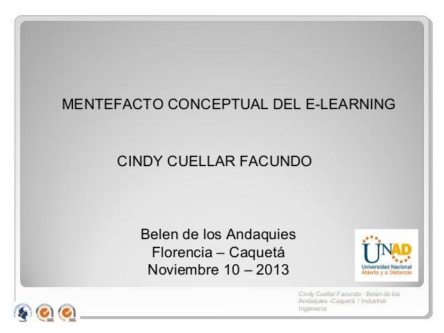 MENTEFACTO CONCEPTUAL DEL E-LEARNING  CINDY CUELLAR FACUNDO  Belen de los Andaquies Florencia – Caquetá Noviembre 10 – 201...