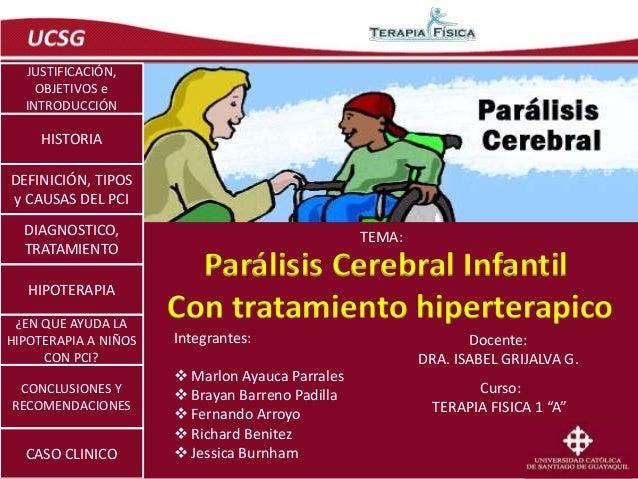 Parálisis Cerebral Infantil  Con tratamiento hiperterapico  Integrantes:   Marlon Ayauca Parrales   Brayan Barreno Padil...