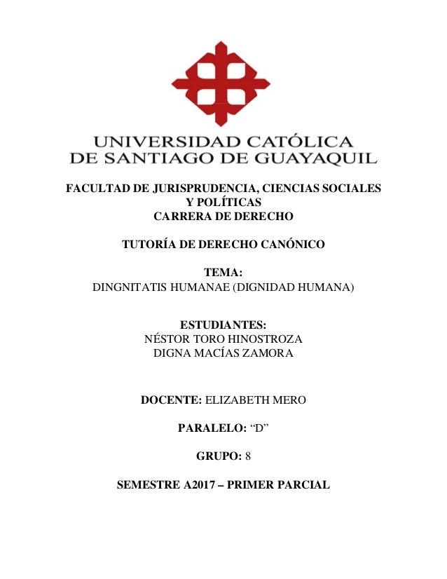 Tutoría de Derecho Canónico.- Dignitatis Humanae