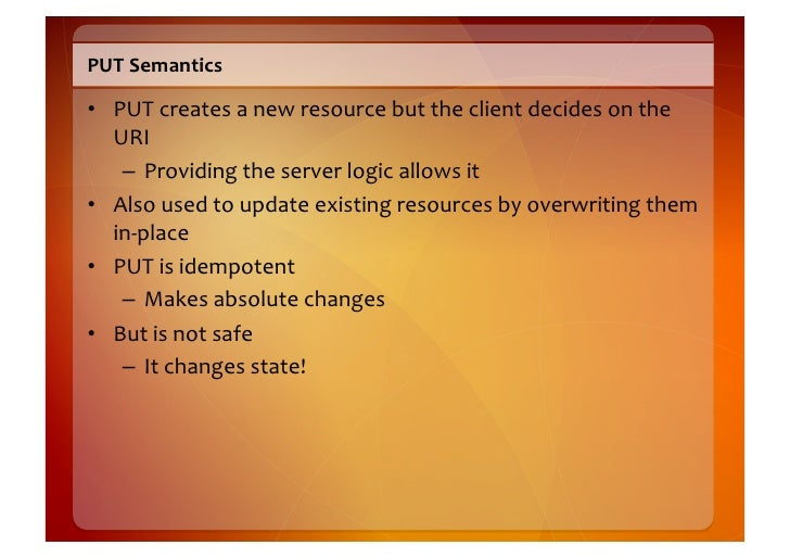 PUT  Request     PUT /orders/1234 HTTP/1.1 Host: restbucks.com Content-Type: application/xml Content-Length: 386  <ord...