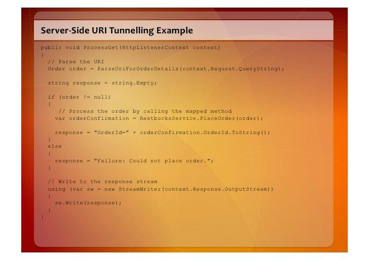Server-‐Side  URI  Tunnelling  Example   public void ProcessGet(HttpListenerContext context) {   // Parse the URI...