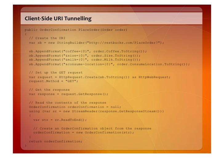 Client-‐Side  URI  Tunnelling   public OrderConfirmation PlaceOrder(Order order) {   // Create the URI   var sb = n...