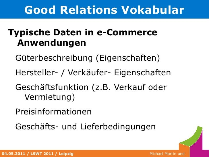 Namensräume </li></ul></ul>Quelle: http://dublincore.org/documents/dc-rdf/ <ul>04.05.2011 / LSWT 2011 / Leipzig </ul>
