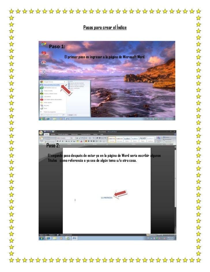 Pasos para crear el Índice<br />348615242570<br />                Paso 1:<br />El primer paso es ingresar a la página de M...