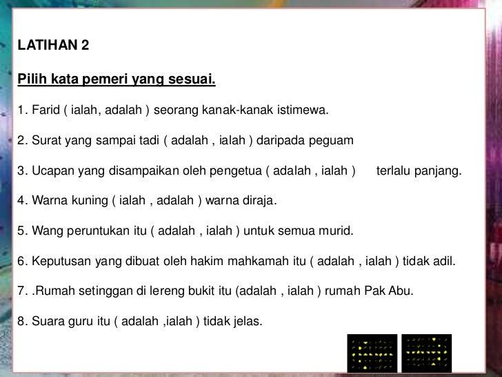 Contoh Ayat Kata Pemeri Ialah Dan Adalah Materi Pelajaran 9