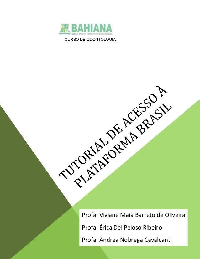 CURSO DE ODONTOLOGIA  Profa. Viviane Maia Barreto de Oliveira Profa. Érica Del Peloso Ribeiro Profa. Andrea Nobrega Cavalc...