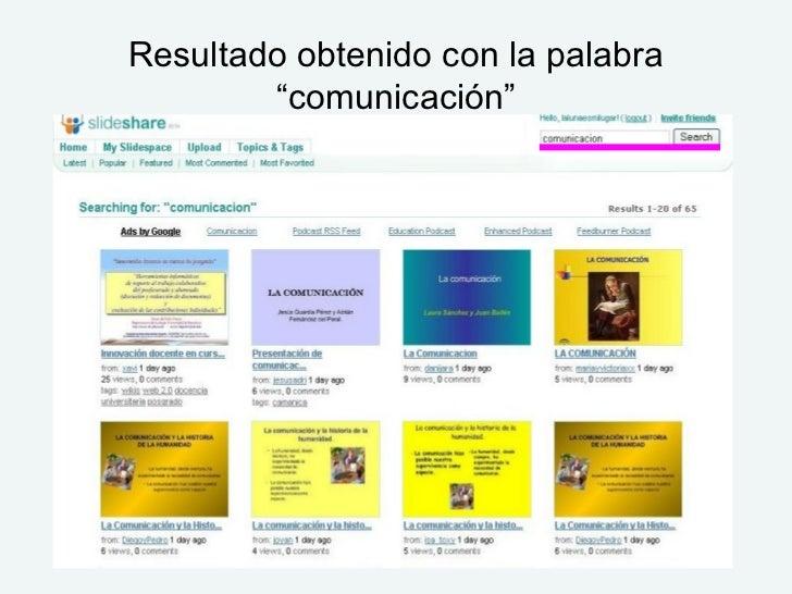 """Resultado obtenido con la palabra """"comunicación"""""""