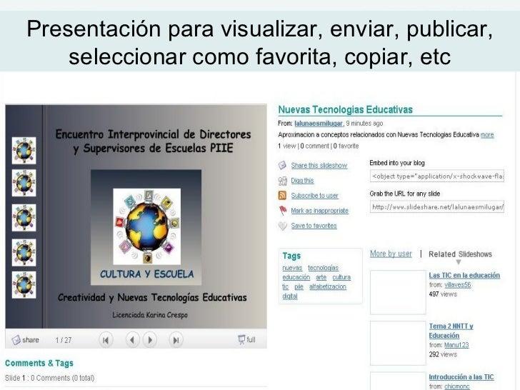 Presentación para visualizar, enviar, publicar, seleccionar como favorita, copiar, etc