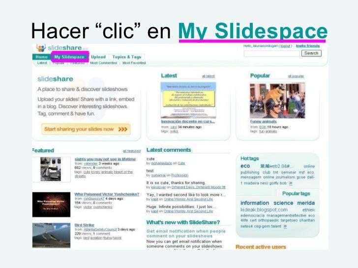 "Hacer ""clic"" en  My Slidespace"