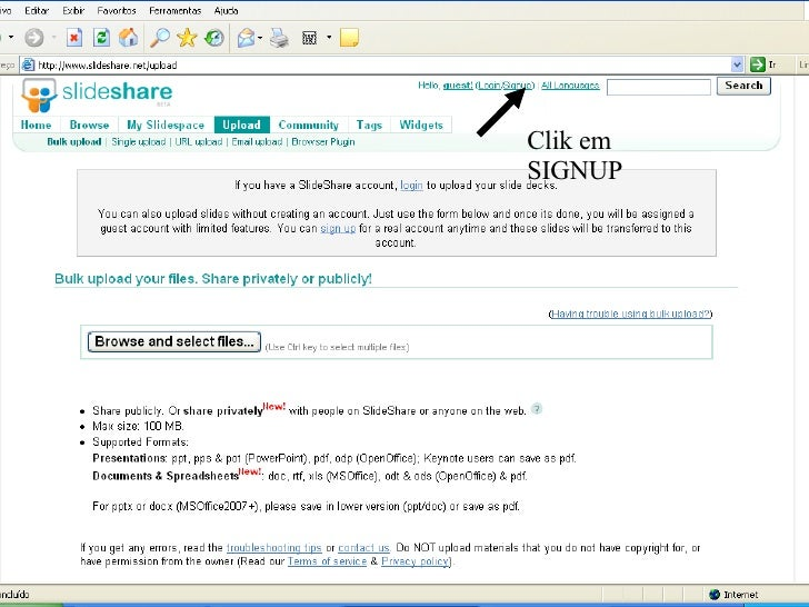 Clik em SIGNUP