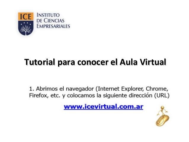 Tutorial para conocer el Aula VirtualTutorial para conocer el Aula Virtual