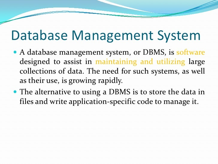 Tutorial On Database Management System