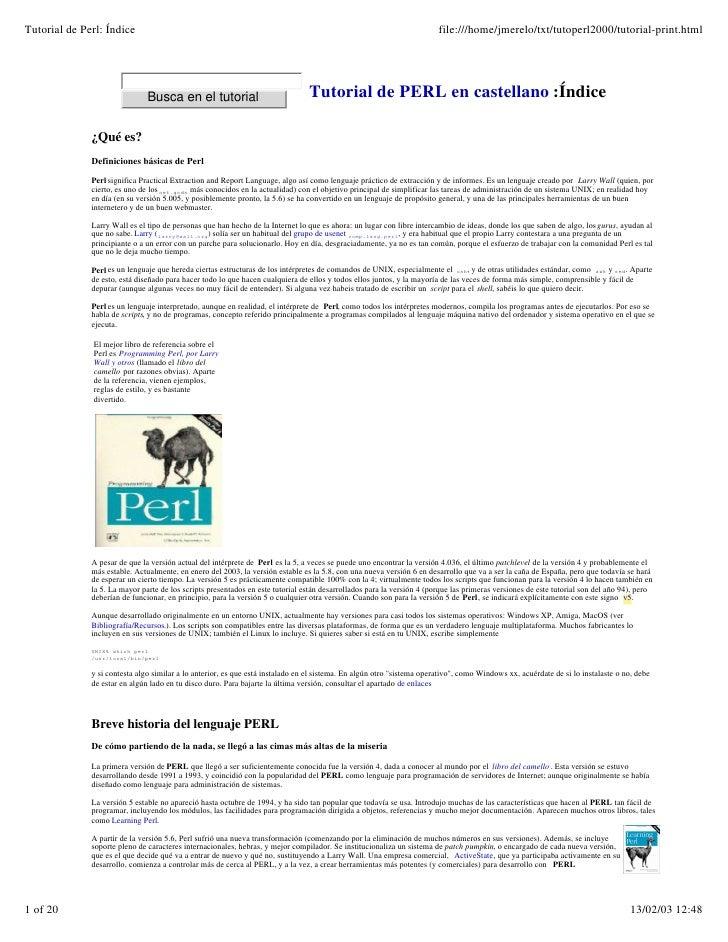 Tutorial de Perl: Índice                                                                                                fi...