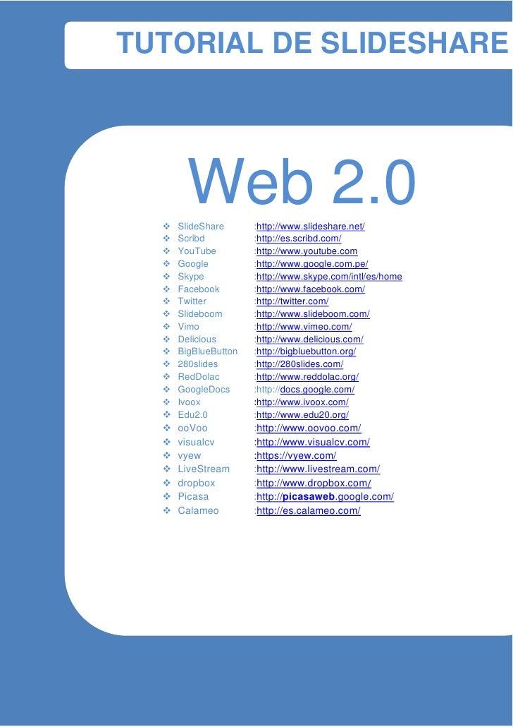 TUTORIAL DE SLIDESHARE-                                                         Web 2.0                           SlideSh...