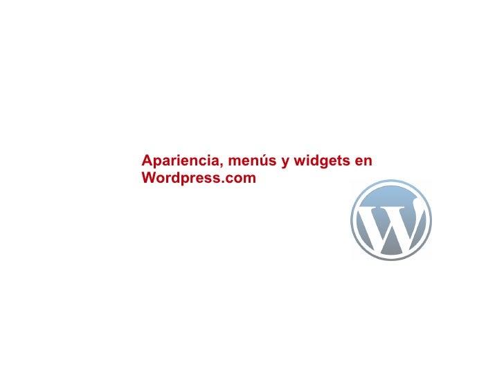 Apariencia, menús y widgets enWordpress.com